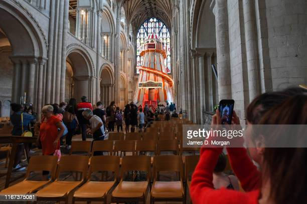 Fifty foot high helter skelter amusement ride sits inside the nave of the Church of England cathedral on August 11, 2019 in Norwich, England. As part...