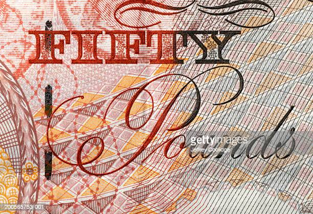 Fifty pound note, close-up, full frame