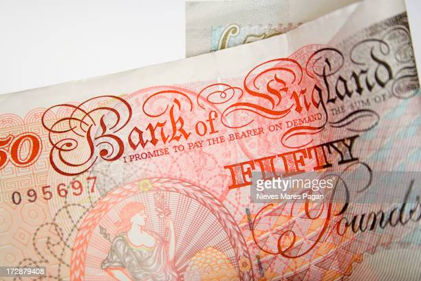 fifty pound note - british pound sterling note stock pictures, royalty-free photos & images