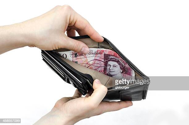 Fifty pounds in a wallet