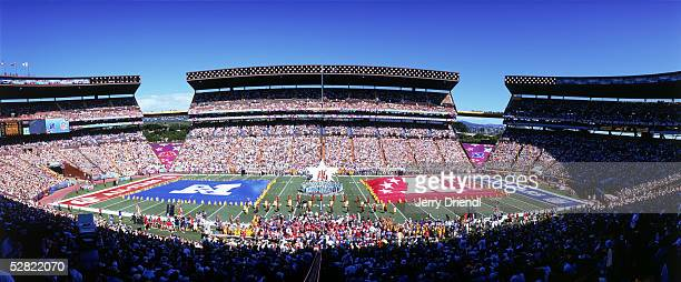 Fifty yard line general view of pregame festivities prior to the NFL Pro Bowl on February 13 2005 at Aloha Stadium in Honolulu Hawaii The AFC team...