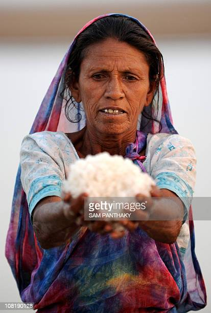 Fifty year old salt pan worker Kuvarben holds up salt while working in a salt pan in the Khadaghoda Sector in the Little Rann of Kutch some 160 kms...