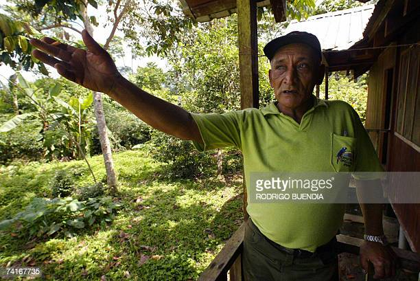 Fifty-eigh-year-old Eduardo Lopez, forest ranger of the Yasuni National Park, gives directions at the entrance of the park, in the Ecuadorean Amazon...