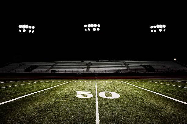 Fifty-yard Line Of Football Field At Night Wall Art