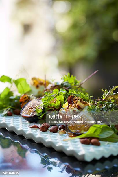 Fig hazelnut and micro green salad