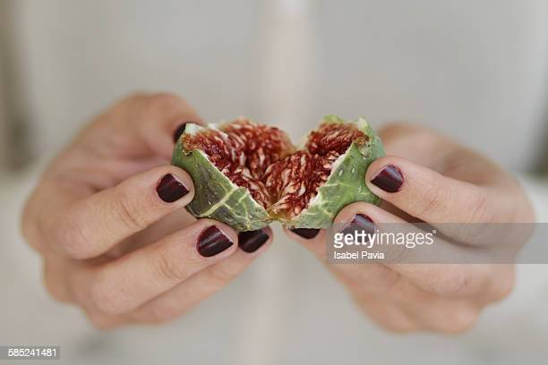 Fig heart in hands