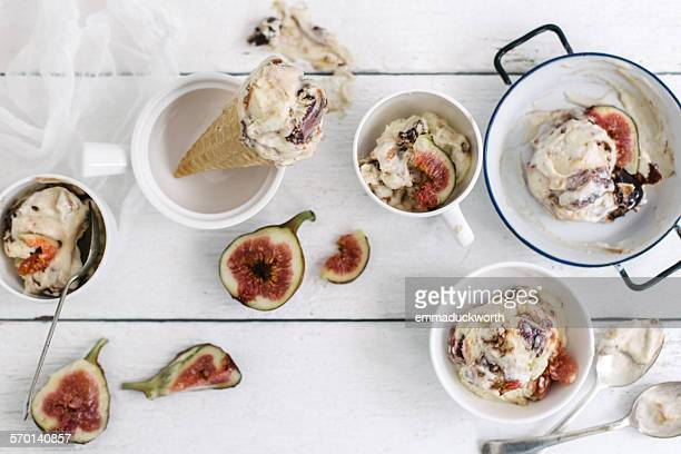 Fig ice-cream scoops and cones