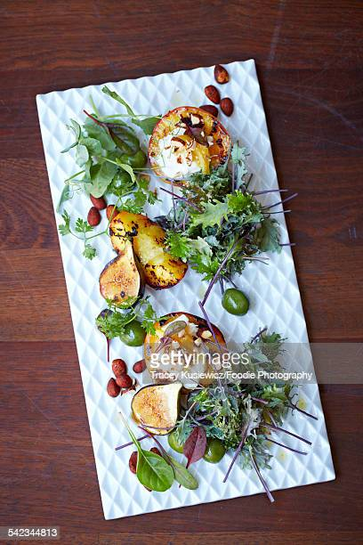 Fig, peach hazelnut and olive salad