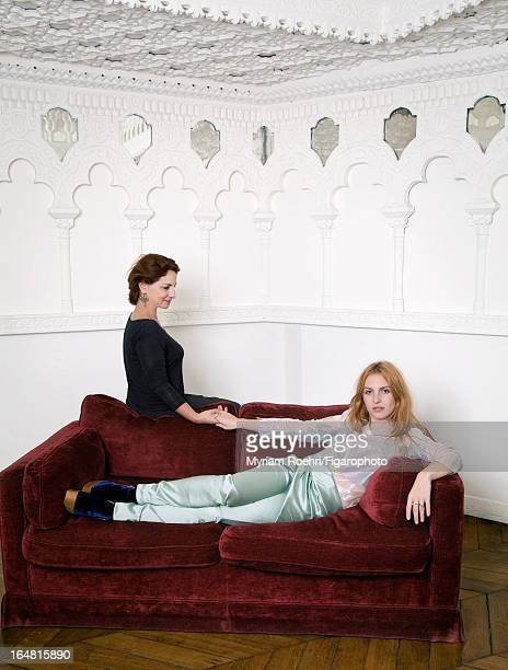 Figaro ID# 105807006 Haute Couture designer Anne Valerie Hash is photographed with muse actress Josephine de la Baume for Madame Figaro on January 15...