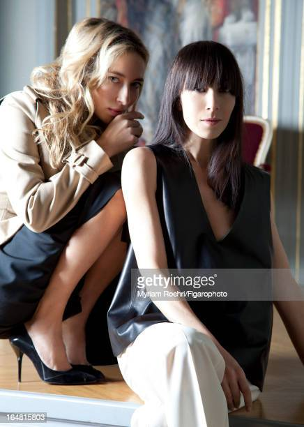 Figaro ID# 105807007 Designer Bouchra Jarrar is photographed with muse journalist/TV host Alexandra Golovanoff for Madame Figaro on January 15 2013...