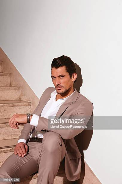 Figaro ID 105950006 Model David Gandy poses for Madame Figaro on February 28 2013 in London England Suit shirt and belt watch PUBLISHED IMAGE CREDIT...