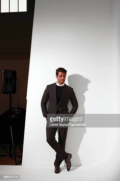 Figaro ID 105950007 Model David Gandy poses for Madame Figaro on February 28 2013 in London England Suit sweater and shirt shoes PUBLISHED IMAGE...