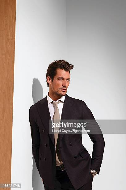 Figaro ID 105950009 Model David Gandy poses for Madame Figaro on February 28 2013 in London England Suit shirt tie and belt watch PUBLISHED IMAGE...