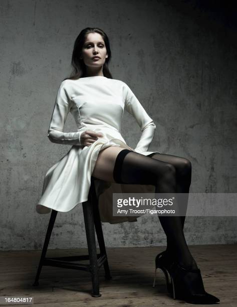 Figaro ID 106050006 Model Laetitia Casta poses for Madame Figaro on February 13 2013 in Paris France PUBLISHED IMAGE Dress stockings shoes Makeup by...