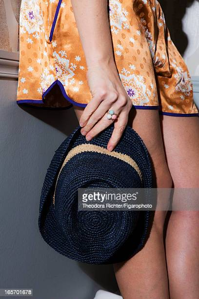 Figaro ID 106091010 TV host Alexandra Golovanoff is photographed for Madame Figaro on February 17 2013 in Paris France Shorts hat ring PUBLISHED...