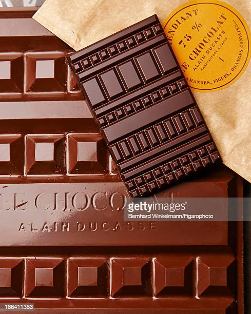 Figaro ID: 106545-020. Chef Alain Ducasse and pastry chef Nicolas Berger's bars of chocolate are photographed for Madame Figaro on March 1, 2013 in...