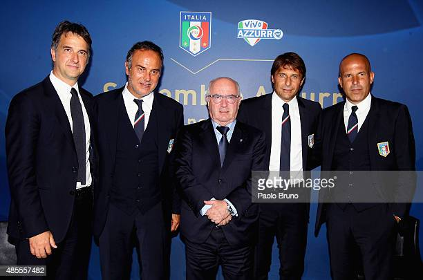 Figc General Director Michele Uva Italian Woman National team head coach Antonio Cabrini FIGC President Carlo Tavecchio and Italian National team...