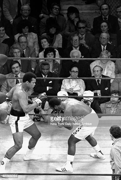 Fight action between Joe Frazier and Muhammad Ali at Madison Square Garden