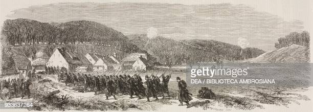 Fight between the Danes and the Austrians at Vejle on the 8th of March Denmark Second Schleswig War illustration from the magazine The Illustrated...