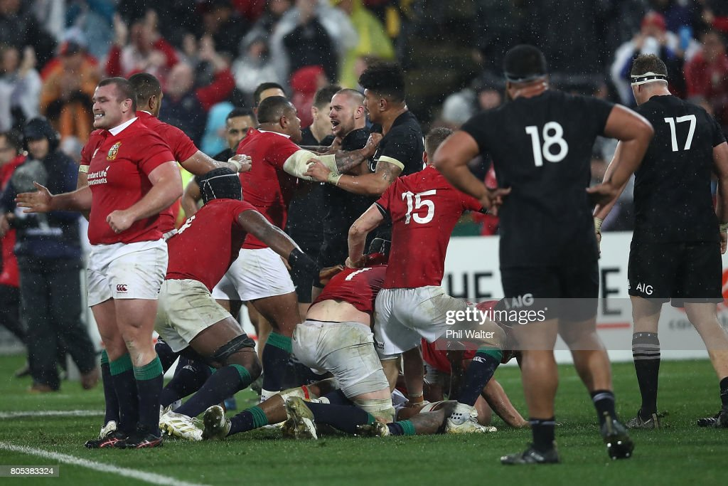 A fight between TJ Perenara of the All Blacks and Kyle Sinckler breaks out on full time during the International Test match between the New Zealand All Blacks and the British & Irish Lions at Westpac Stadium on July 1, 2017 in Wellington, New Zealand.