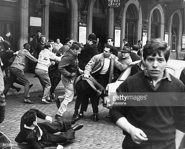 A fight breaks out between antiFascists and supporters of Oswald Mosley's Union Movement in the forecourt of Charing Cross Station in London 12th May...