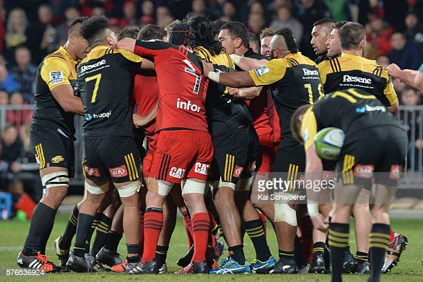 A fight breaks out between both teams during the round 17 Super Rugby match between the Crusaders and the Hurricanes at AMI Stadium on July 16 2016...