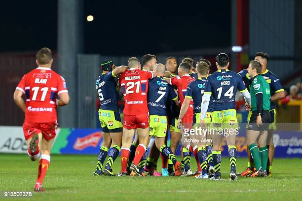 A fight breaks out between Hull KR and Wakefield Trinity players during the BetFred Super League match between Hull KR and Wakefield Trinity at KCOM...