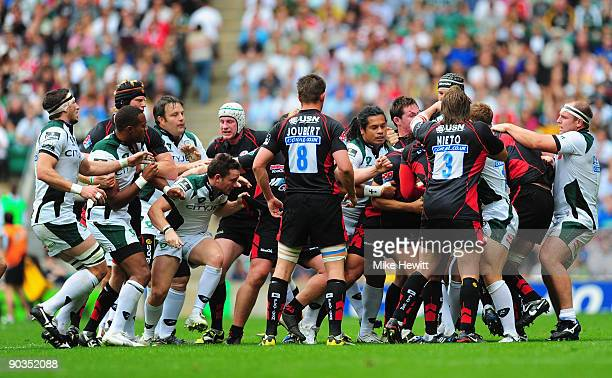 A fight breaks out between Saracens and London Irish players during the Guinness Premiership match between Saracens and London Irish at Twickenham...