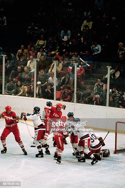 A fight breaks out during a game between the US and USSR Olympic ice hockey teams at the 1980 Winter Olympics in Lake Placid New York