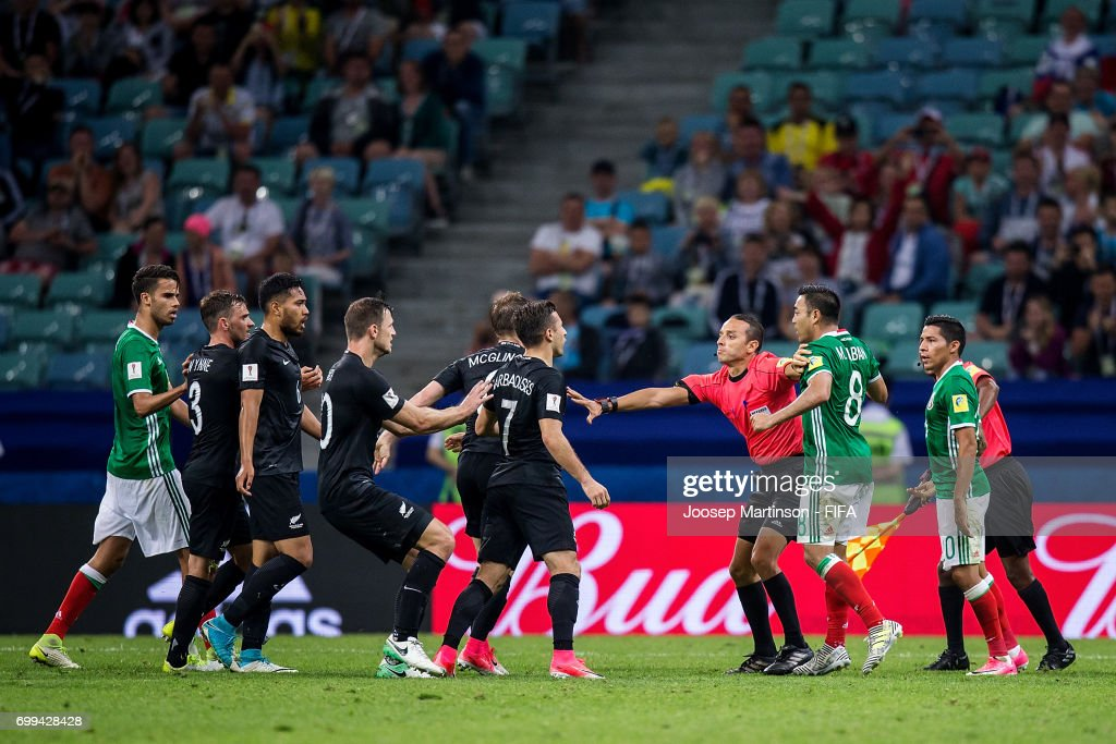 A fight breaks out during the FIFA Confederations Cup Russia 2017 group A football match between Mexico and New Zealand at Fisht Olympic Stadium on June 21, 2017 in Sochi, Russia.