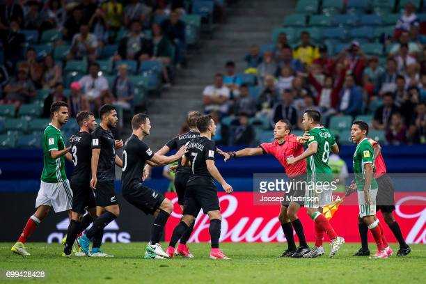 A fight breaks out during the FIFA Confederations Cup Russia 2017 group A football match between Mexico and New Zealand at Fisht Olympic Stadium on...