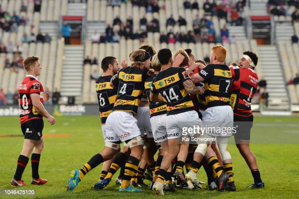 A fight breaks out during the round eight Mitre 10 Cup match between Canterbury and Taranaki at Christchurch Stadium on October 6 2018 in...