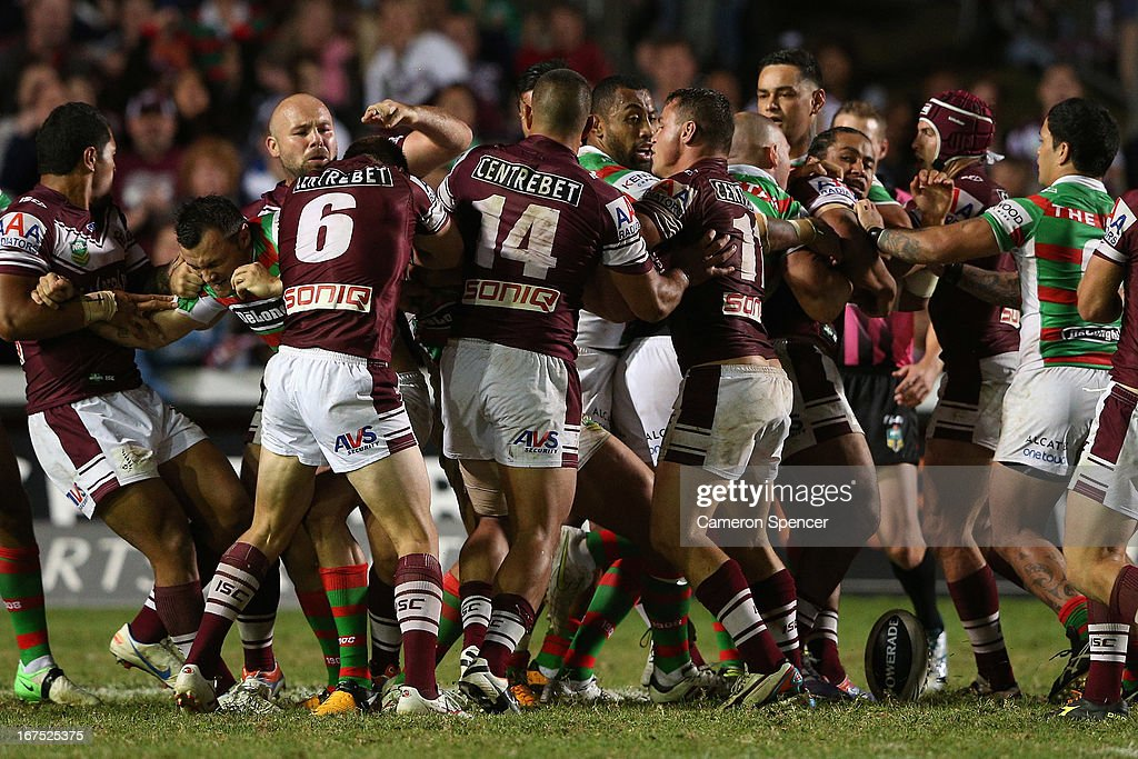 A fight breaks out during the round seven NRL match between the Manly Sea Eagles and the South Sydney Rabbitohs at Brookvale Oval on April 26, 2013 in Sydney, Australia.
