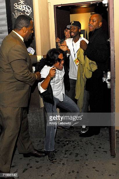 A fight breaks outside Plumm when a doorman grabbed a guest as he was entering the club at Plumm hosted by Nelly Furtado and Calle 13 for Un Chin...
