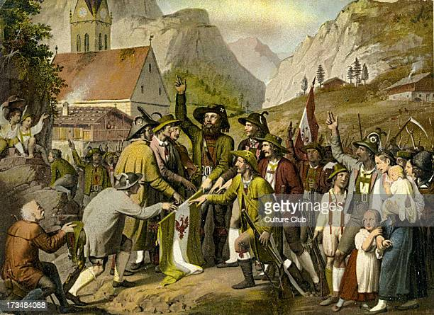 Fight for Tyrolean Independence against Bavarian rule and Napoleon Andreas Hofer making an oath From painting of 1809 Tirolean innkeeper and patriot...