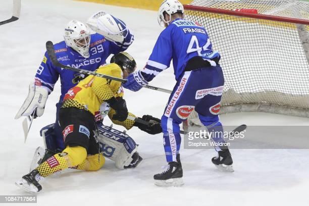 fight from Dan Bakala of Villach Ali Wukovits of Vienna and Jamie Fraser of Villach during the Vienna Capitals v EC VSV Erste Bank Eishockey Liga at...