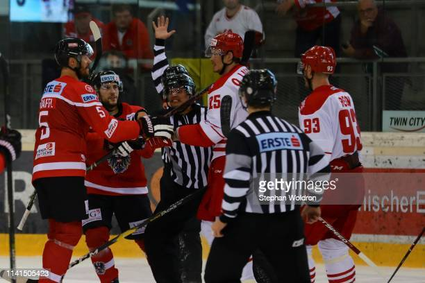 Fight from Thomas Raffl of Austria and Oliver Lauridsen of Denmark during the Austria v Denmark - Ice Hockey International Friendly at Erste Bank...