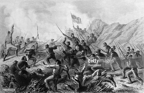 Fight in the crater made by explosion of a mine under a portion of the rebel works at the Battle at Vicksburg Vicksburg Mississippi mid 1863