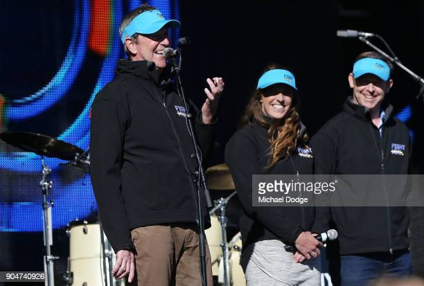 Fight MND Vice Chairman and AFL Legend Neale Daniher daughter Bec Daniher and Fight MND Board Member Pat Cunningham appear on stage ahead of the 2018...