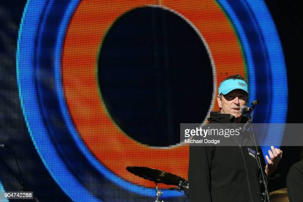 Fight MND Vice Chairman and AFL Legend Neale Daniher speaks on stage ahead of the 2018 Australian Open at Melbourne Park on January 14 2018 in...