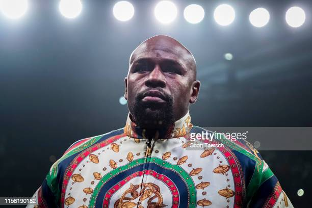 Fight promoter and retired professional boxer Floyd Mayweather Jr. In the ring before the WBA super featherweight championship fight between Gervonta...