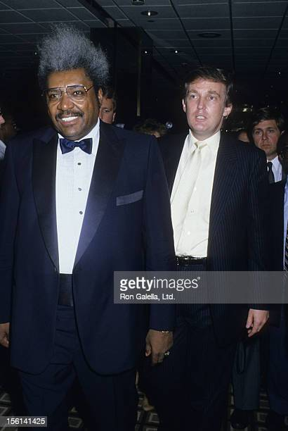 Fight Promoter Don King and businessman Donald Trump attend Mike Tyson vs Michael Spinks Boxing Match on June 27 1988 at the Trump Plaza in Atlantic...