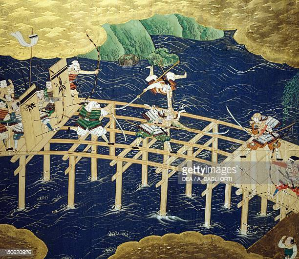 Fight scene on a bridge detail from byobu scenes from the 12th century Gempei war Japan Tosa School Edo Period early 17th century