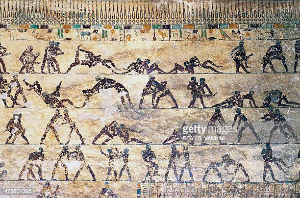 Fight scenes wall painting Kethi tomb Beni Hasan Necropolis Egypt Egyptian civilisation Middle Kingdom Dynasty XII