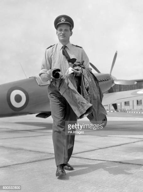 Fighter ace Group Captain James Edgar Johnson, DSO, DFC, seen at Biggin Hill, the Kent RAF station. Johnson was bringing in one of three Spitfires...