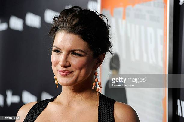 Fighter / Actress Gina Carano arrives at Relativity Media's premiere of Haywire cohosted by Playboy held at DGA Theater on January 5 2012 in Los...