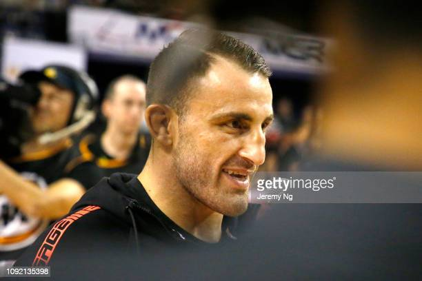 UFC fighter Alexander Volkanovski speaks at an interview after the round 13 NBL match between the Illawarra Hawks and the Adelaide 36ers at...