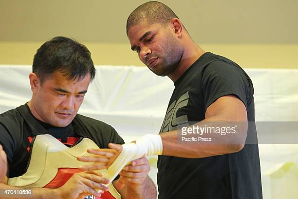 UFC fighter Alistair Overeem prepares for an open workout at the SM Megamall event center on Sunday April 19 2015 Overeem is making his first visit...