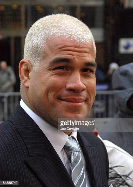 Fighter and former UFC light heavyweight champion Tito Ortiz rings the NASDAQ opening bell at NASDAQ in Times Square on January 20, 2009 in New York...
