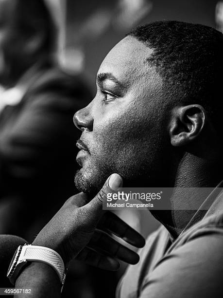 UFC fighter Anthony Johnson participates in a press conference at the Tele2 Arena in Stockholm Sweden